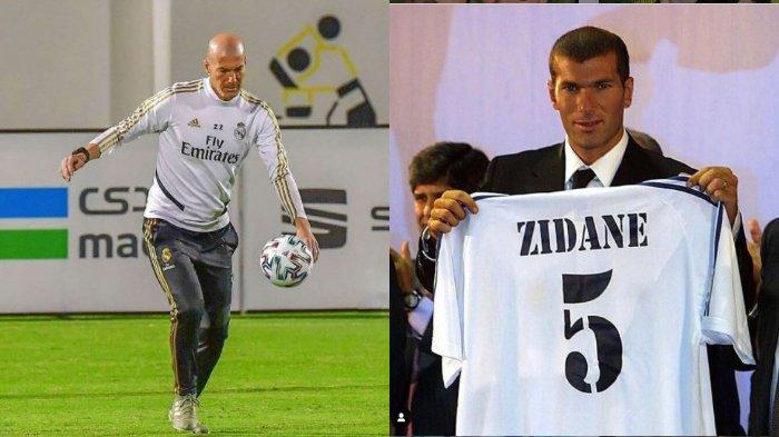 Zinadine Zidane saat menjadi pelatih Real Madrid (Kiri) dan saat memperkenalkan nomor punggungnya ketika masih menjadi pemain. Reuben Silitonga mengidolakan Zidane karena kejeniusan dan ketenangannya dalam bermain sepak bola.