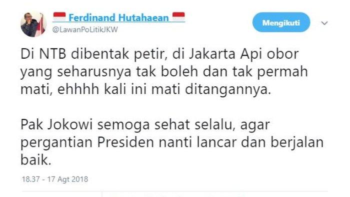 Komentar Ferdinand soal api obor yang dipegang Jokowi