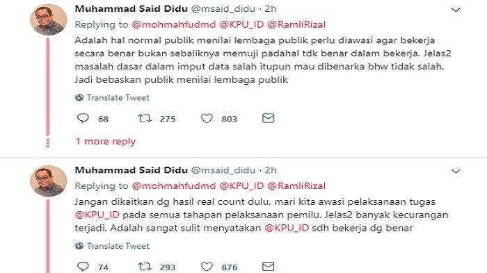 Komentar Said Didu di postingan Mahfud MD