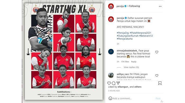 Komentar The Jak Mania pada postingan Instagram @persija pada 22 April 2021.