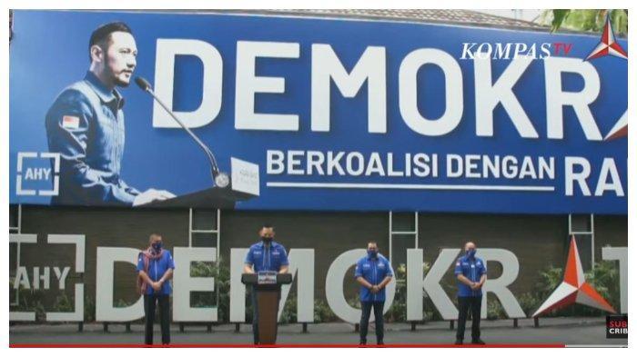 Konferensi pers Partai Demokrat, Senin (1/2/2021). Ketua Umum Partai Demokrat, Agus Harimurti Yudhoyono membeberkan lima pelaku gerakan ambil alih Partai Demokrat.
