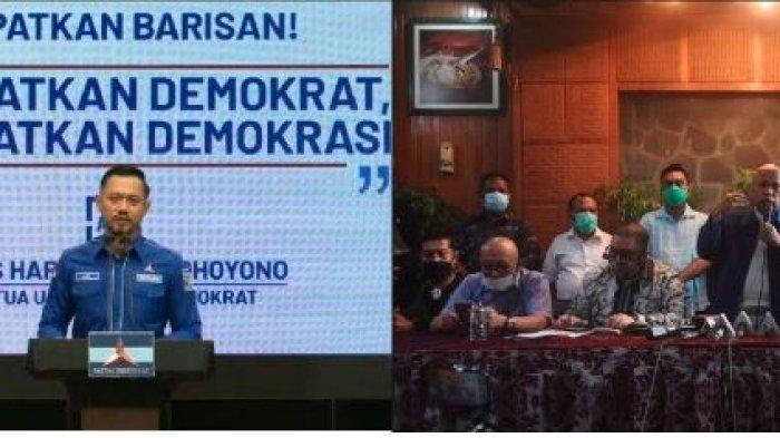 Partai Demokrat versi Kongres Luar Biasa (KLB)  Deliserdang yang dipimpin oleh Moeldoko melakukan konferensi pers di  kediaman Moeldoko Rawamangun, Jakarta, Kamis (11/3/2021).