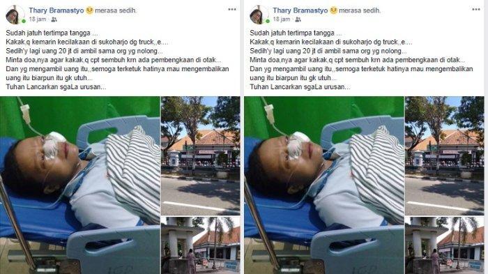 Korban kecelakaan ditabrak truk yang kehilangan uang sebesar Rp 20 juta.