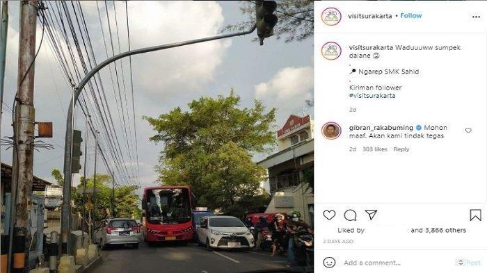 Unggahan Instagram@visitsurakarta tentang aksi ugal-ugalan seorang sopir BST di Solo, Senin (12/4/2021) langsung dikomentari oleh Wali Kota Solo Gibran Rakabuming Raka dan telah ditindak per Rabu (14/4/2021).