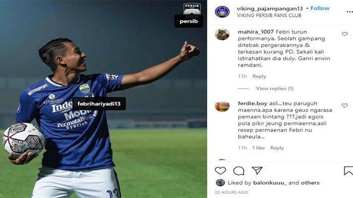 Komentar Bobotoh kepada winger Persib Bandung Febri Hariyadi pada postingan Instagram @viking_pajampangan13 pada 12 September 2021.