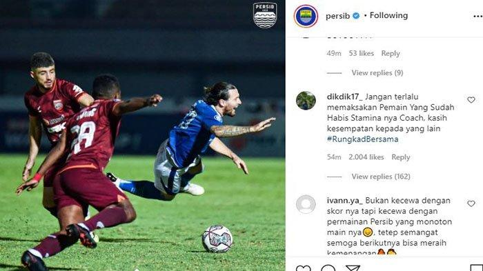 Kritikan Bobotoh untuk Robert Alberts pada postingan Instagram @persib.