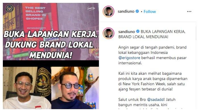 Unggahan akun Instagram Menparekraf Sandiaga Uno, Selasa (31/8/2021).
