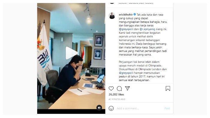 Unggahan akun Instagram milik Menteri BUMN, Erick Thohir, Senin (2/8/2021). Erick Thohir menyambut dengan suka cita kemenangan Greysia Polii dan Apriyani Rahayu di cabang olahraga bulu tangkis Olimpiade Tokyo 2020.