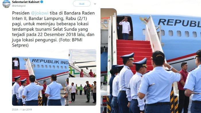 Presiden Indonesia, Joko Widodo mengunjungi lokasi terdampak bencana alam tsunami Selat Sunda di Lampung Selatan, Rabu (2/1/2019)