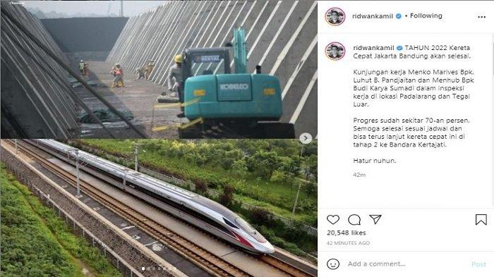 Lewat unggahan akun instagram miliknya pada Senin (12/4/2021), Gubernur Jawa Barat Ridwan Kamil menyebut, proyek kereta cepat Jakarta-Bandung akan rampung pada tahun 2022.