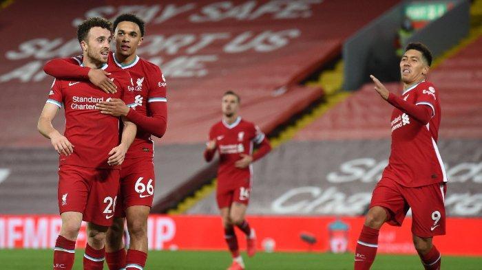Para pemain Liverpool saat merayakan kemenangan atas Sheffield di Anfield dalam laga pekan ke-6 Liga Inggris, Sabtu (24/10/2020).