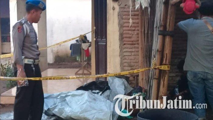 Lokasi penemuan dua mayat pria dalam kondisi terbakar di rumah warga bernama Nurul Huda, Desa Jati Gunting, Kecamatan Wonorejo, Kabupaten Pasuruan, Minggu (20/1/2018) pagi.