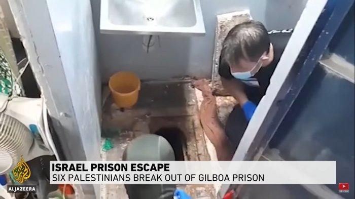 Lubang di lantai toilet penjara Gilboa, Israel yang digunakan enam tahanan Palestina untuk melarikan diri.