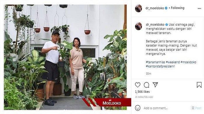 Kepala KSP Moeldoko memamerkan kegiatannya bersama sang istri, Minggu (4/4/2021).