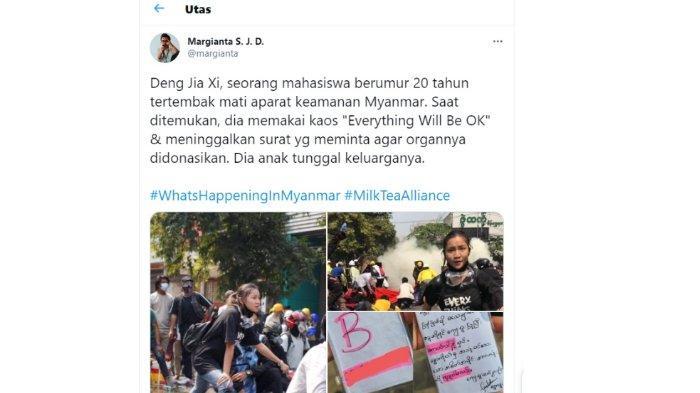 Unggahan Margianta SJ tentang mahasiswi Deng Jia Xi alias Kyal Sin (Angel) (19) yang tewas dalam demonstrasi terhadap kudeta militer Myanmar, Kamis (4/3/2021).