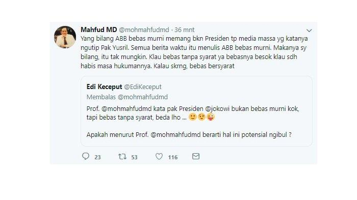 Mahfud MD tanggapi pernyataan pembebasan terpidana Bom Bali 2002, Abu Bakar Ba'asyir.
