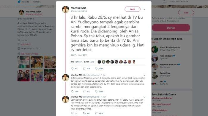 Kicauan Mahfud MD soal kabar Ani Yudhoyono, Sabtu (1/6/2019).