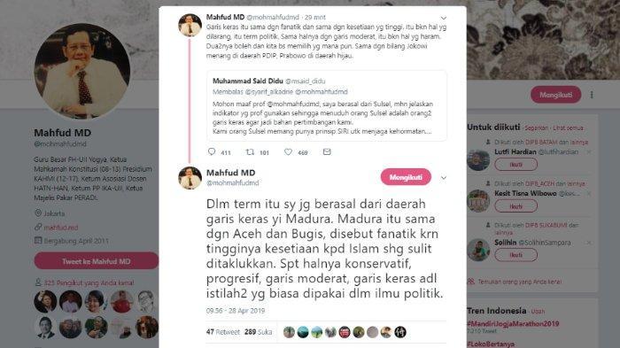 Mahfud MD tanggapi kicauan Said Didu, Minggu (28/4/2019).
