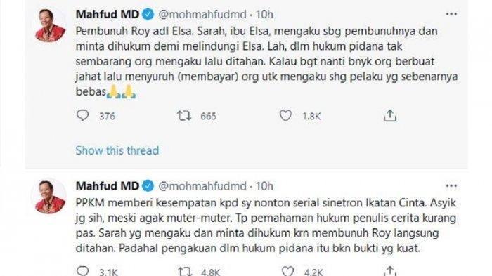 Mahfud MD kritik jalan cerita Sinetron Ikatan Cinta, Kamis (15/7/2021).