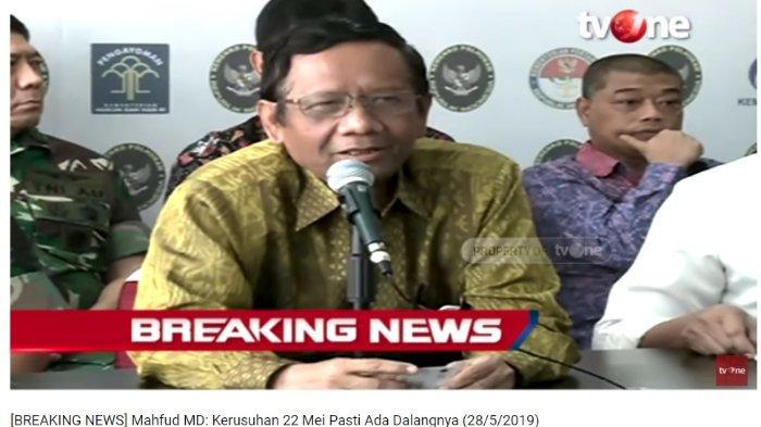 Mantan Ketua MK Mahfud MD Desak Aparat Usut Tuntas Kerusuhan 22 Mei: Ini Pasti Ada Dalangnya