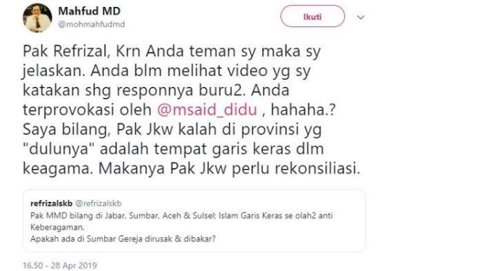 Kicauan Mantan Ketua Mahkamah Konstitusi Mahfud MD, Minggu (28/4/2019).