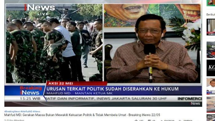 Mahfud MD sat berada di Breaking iNews, Rabu (22/5/2019)