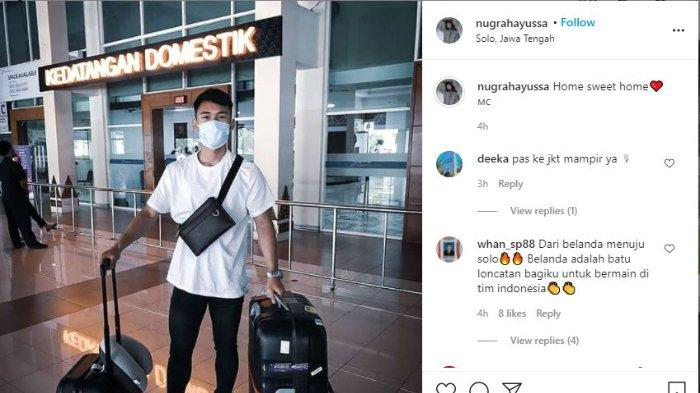 Mantan penyerang klub Liga Belanda SC Feyenoord Yussa Nugraha sudah tiba di Tanah Air, tepatnya di Solo, Jawa Tengah, Minggu (16/5/2021).