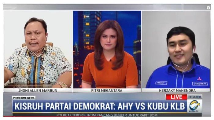 Mantan Politisi Demokrat, Jhoni Allen Marbun (kiri), dan Kepala Badan Komunikasi Strategis DPP Partai Demokrat (PD), Herzaky Mahendra Putra (kanan), dalam kanal YouTube metrotvnews, Selasa (2/3/2021).