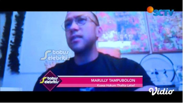 Tangkapan layar acara Status Selebriti. Kuasa hukum Marully Tampubolon memberikan keterangan tentang isu perceraian Thalita latief dan Dennis Rizky, Senin (29/3/2021)