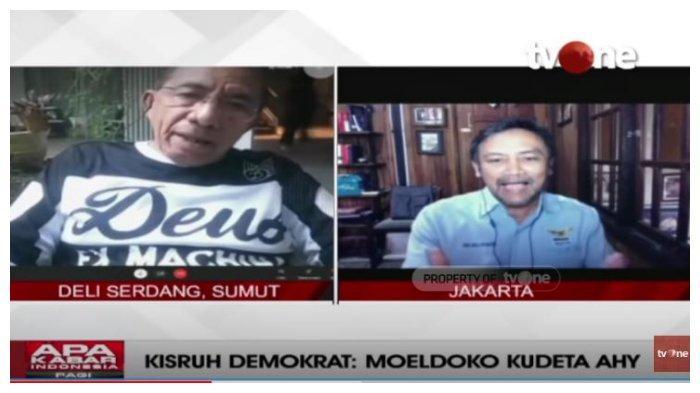 Mantan kader Partai Demokrat, Max Sopacua dan Sekretaris Majelis Tinggi Partai Demokrat, Andi Mallarangeng, dalam acara Apa Kabar Indonesia Pagi, Sabtu (6/3/2021).