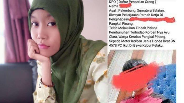 Mayat seorang janda muda, Ayu (27) ditemukan di dalam sebuah karung putih di Penginapan Dewi Residen II Kacang Pedang, Kota Pangkalpinang, Provinsi Kepulauan Bangka Belitung pada Sabtu (14/11/2020) pukul 09.00 pagi.