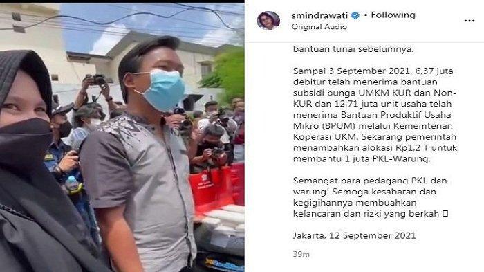 Menteri Keuangan RI Sri Mulyani mengaku salut melihat perjuangan sepasang pengantin baru di Medan, Minggu (12/9/2021).