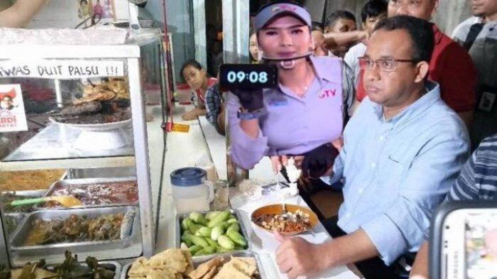 Meme Gubernur DKI Jakarta, Anies Baswedan sedang makan di warung tegal.