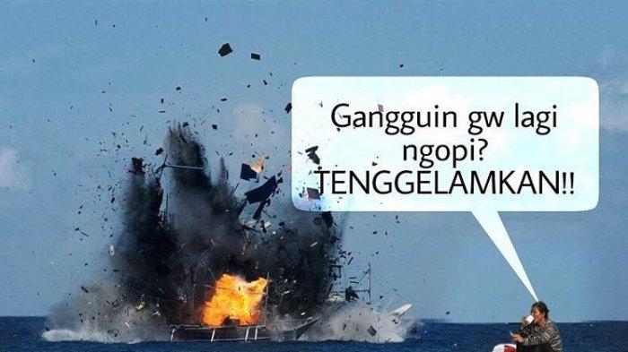 Beredar Meme Meme Kocak Menteri Susi Pudjiastuti Ngopi Dan Merokok Di Tengah Laut Tribun Wow