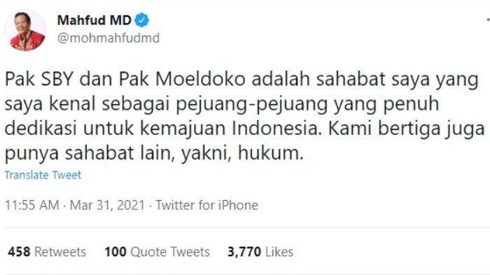 Menko Polhukam Mahfud MD bereaksi terkait penolakan kepengurusan Partai Demokrat versi kongres luar biasa (KLB), Rabu (31/3/2021).