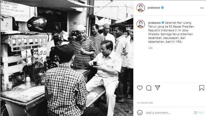 Menteri Pertahanan RI Prabowo Subianto mengunggah foto lawas Presiden RI Joko Widodo (Jokowi), pada Senin (21/6/2021).