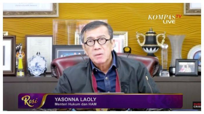 Menteri Hukum dan Ham, Yasonna Laoly buka suara menanggapi adanya seruan pembangkangan sipil, dalam acara Rosi 'KompasTV', Kamis (22/10/2020).