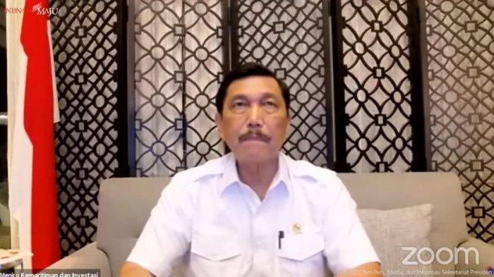 Menteri Koordinator Bidang Kemaritiman dan Investasi (Menko Marves) yang juga Koordinator PPKM Jawa-Bali, Luhut Binsar Pandjaitan menyampaikan perkembangan penanganan Covid-19, Senin (13/9/2021).