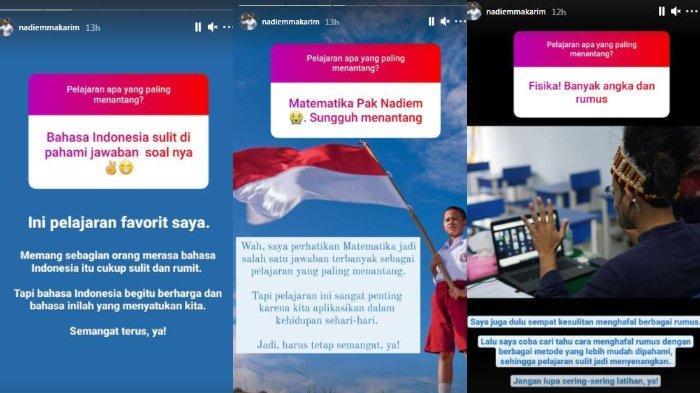 Menteri Pendidikan, Kebudayaan, Riset, dan Teknologi RI, Nadiem Anwar Makarim merespons jawaban warganet soal mata pelajaran yang menantang, Sabtu (1/5/2021).