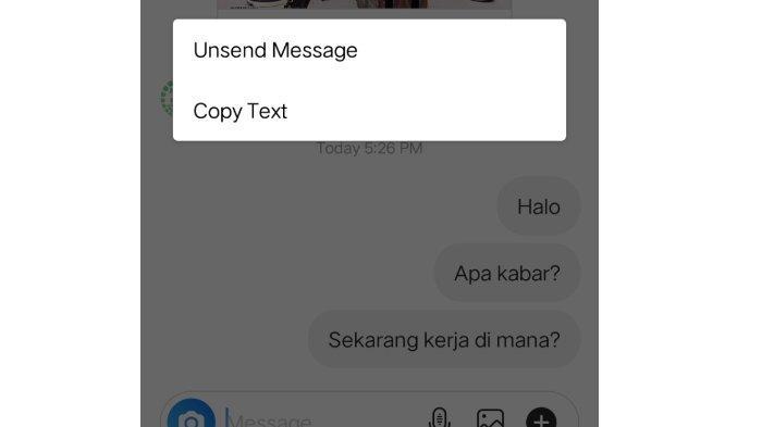 Menu Unsend pada Direct Message (DM) Instagram.