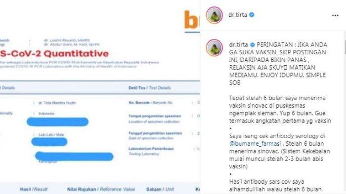 Influencer sekaligus tenaga kesehatan dr. Tirta Mandira Hudhi memamerkan efek dari Vaksin Sinovac di tubuhnya. ditayangkan di unggahan akun Instagram miliknya @dr.tirta, Selasa (22/6/2021)