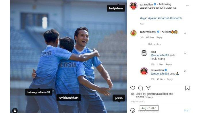 Mohammed Rashid mengomentari postingan Instagram Ezra Walian dan memberikan julukan 'The Killer'.