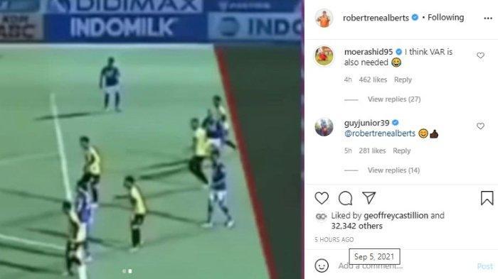 Pemain Maung Bandung, Mohammed Rashid dan pemain Borneo FC, Guy Junior mengomentari postingan pelatih Persib Bandung, Robert Alberrs.