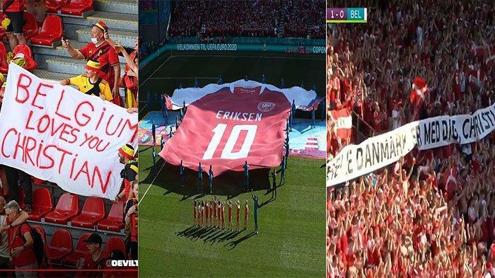 EURO 2020: Foto Momen Dukungan untuk Eriksen di Laga Denmark Vs Belgia, Spanduk hingga Kaos Raksasa