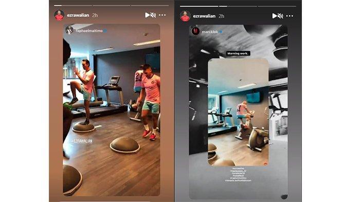 Momen latihan bersama pemain naturalisasi Indonesia asal Belanda pada postingan Instagram @ezrawalian pada 11 Mei 2021.