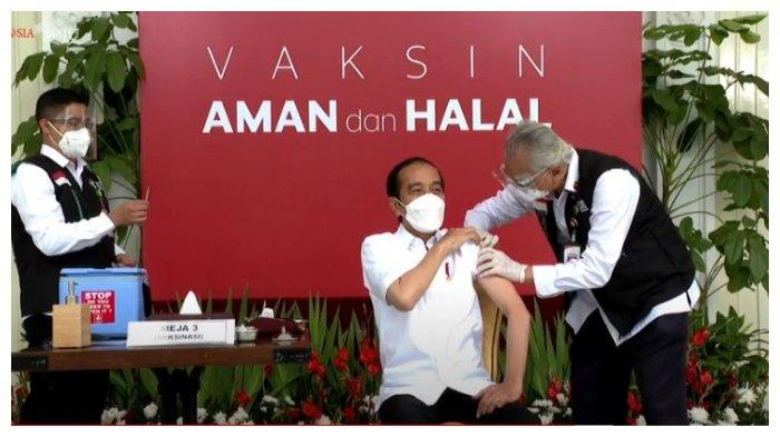 Momen  Presiden Joko Widodo (Jokowi) saat disuntikkan vaksin Covid-19, Rabu (13/1/2021)