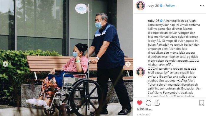 Momen saat Ani Yudhoyono pertama kali diijinkan keluar dari kamar inap setelah tiga bulan tak meninggalkan kamar sama sekali. (Instagram/ruby_26)