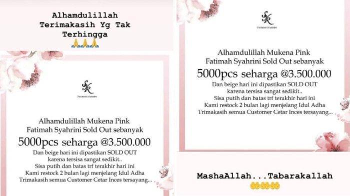 Mukena Fatimah Syahrini sold out 5.000 pcs