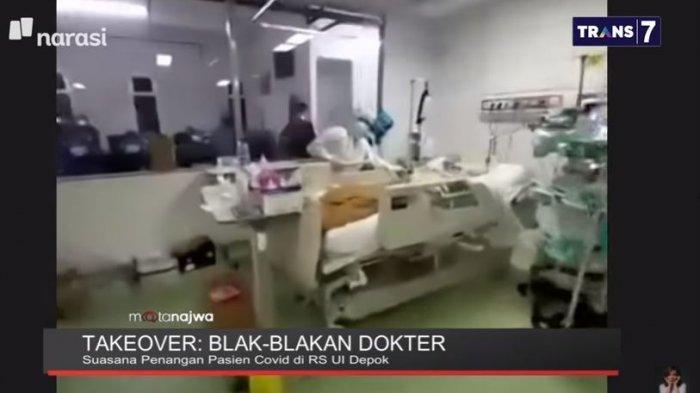 dr. Irandi Putra Pratomo memperlihatkan langsung seperti apa isi dari ruang Intensive Care Unit (ICU) di Rumah Sakit Universitas Indonesia (UI) Depok, Jawa Barat. Ditampilkan di acara Mata Najwa, Rabu (23/6/2021).