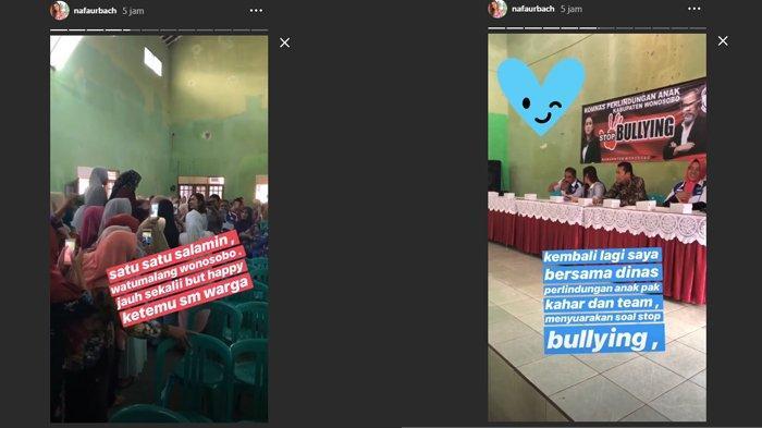 Nafa Urbach bahas bullying bersama dinas perlindungan anak di Wonosobo, Kamis (14/3/2019).